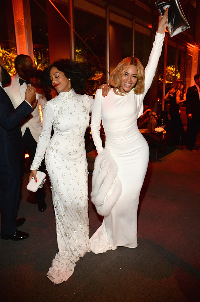 Beyonce and Solange at the VF15 Oscars Afterparty - Kevin Mazur/Getty
