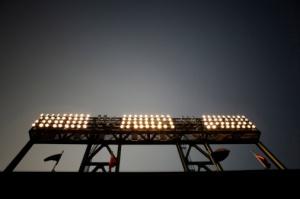 Low angle view of illuminated stadium lights, a Baseball Park, San Francisco, CA.