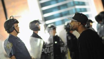 Protest in front of Ferguson Police Station