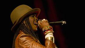 American recording artist Lauryn Hill performing at the Festival dos Oceanos, Praca do Comercio, Baixa.