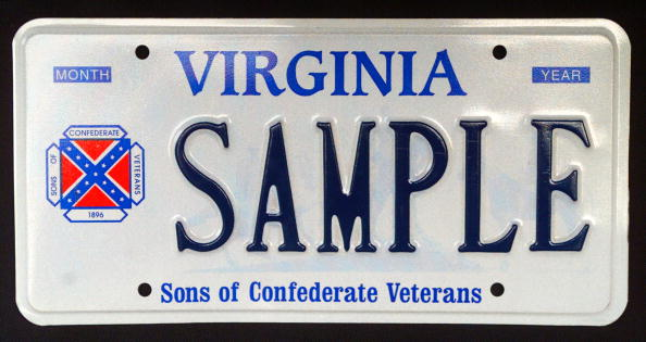 Sample Virginia Licence Plate Containing The Logo Of The Sons Of Confederate Veterans