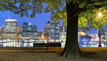 Baltimore skyline from Historic Federal Hill Park