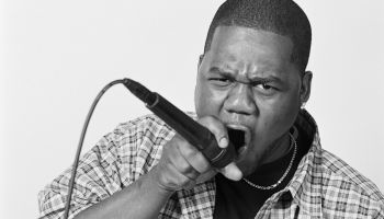 Man rapping into microphone