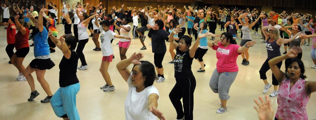 Zumba fitness class at Franconia Fire Station.