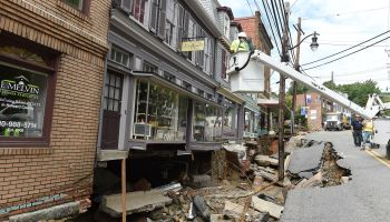 ELLICOTT CITY, MD - JULY 31: Rescue workers attend the destruct
