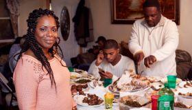 Family eating dinner at table