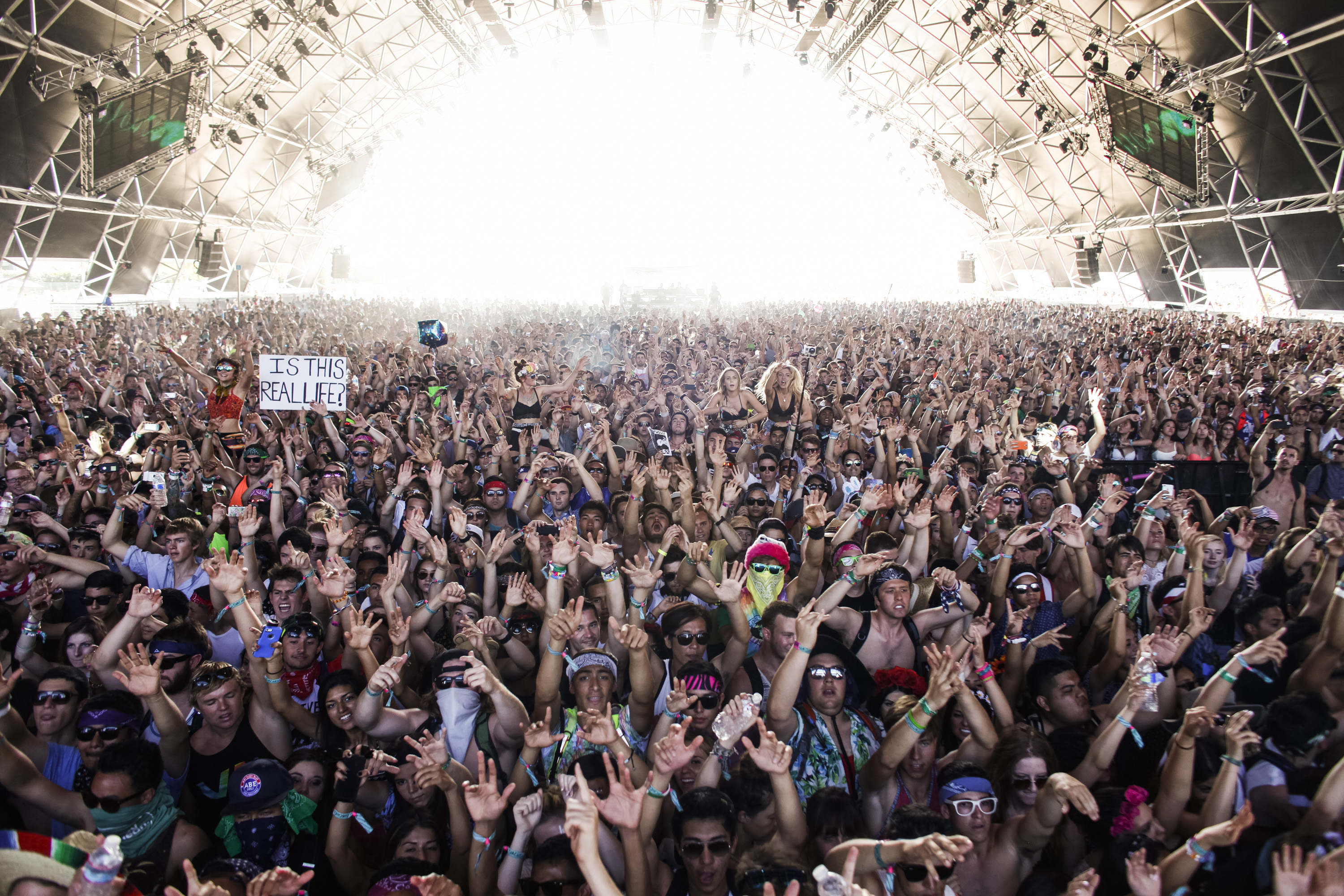 INDIO, CA.-- APRIL 20, 2014--The Sahara tent was packed for the performance of Showtek, a brother DJ