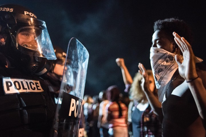 Police Officers Face Off with Protestors on I-85 in Charlotte