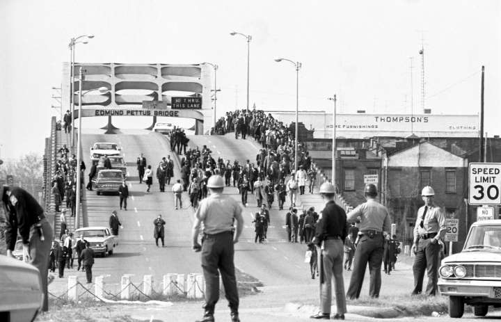 Civil Rights Marchers on Bridge in Selma