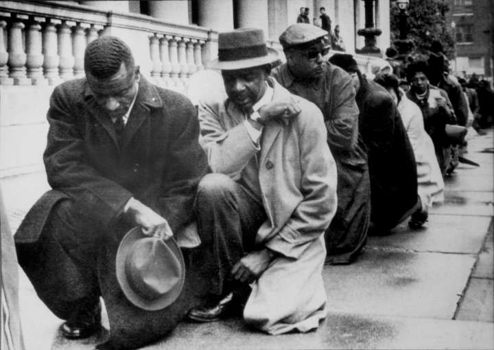 Protesters Kneel For Civil Rights Against Racism