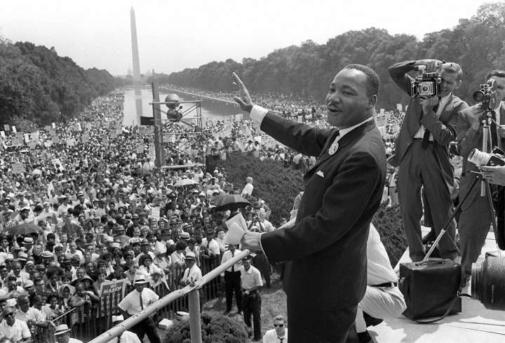 """US Civil Rights Leader Martin Luther King, Jr. Delivers """"I Have A Dream"""" Speech"""