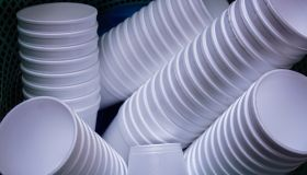 Close-Up Of Disposable Cups