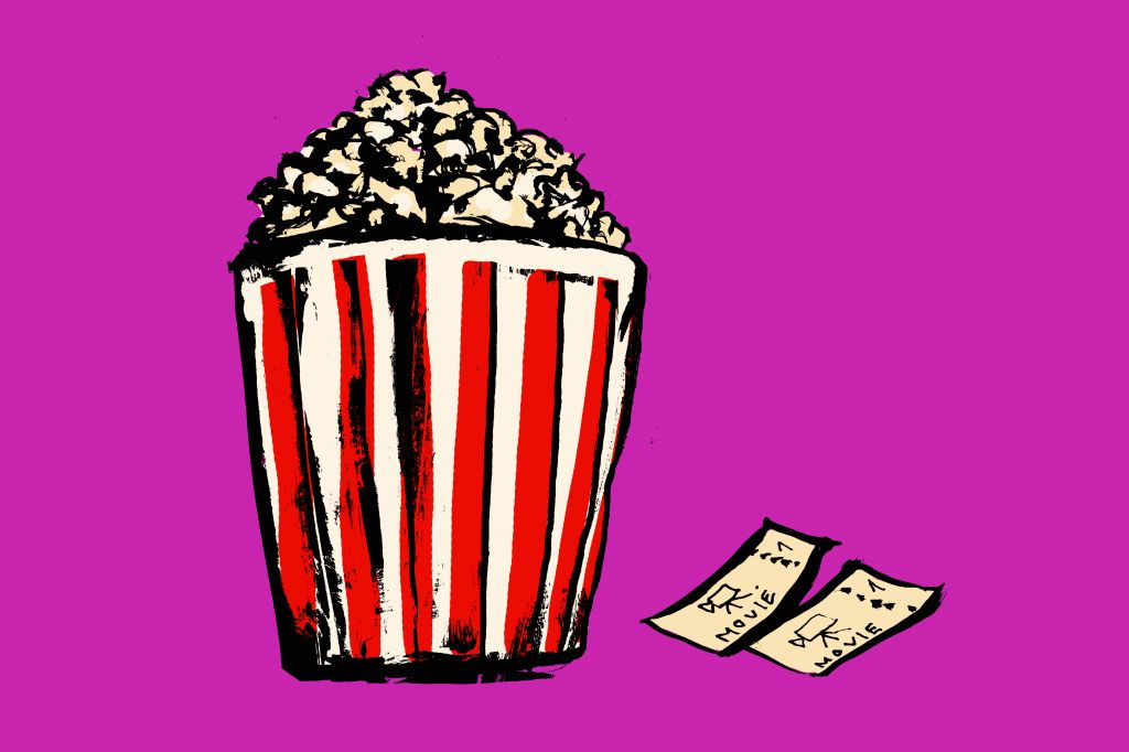 Illustration of popcorn box and movie tickets against pink background
