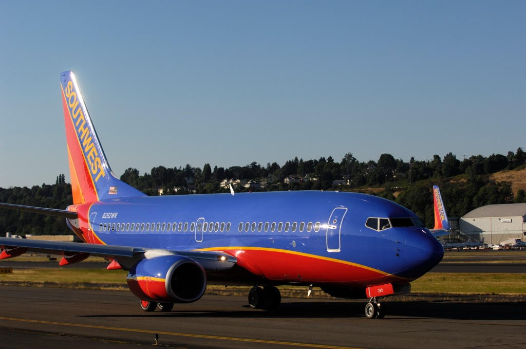 a Southwest Airlines Boeing 737-700 (LN2318) taxiing on a pre-delivery test flight