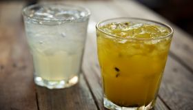Passion fruit tequila and classic margarita cocktail in Mexico