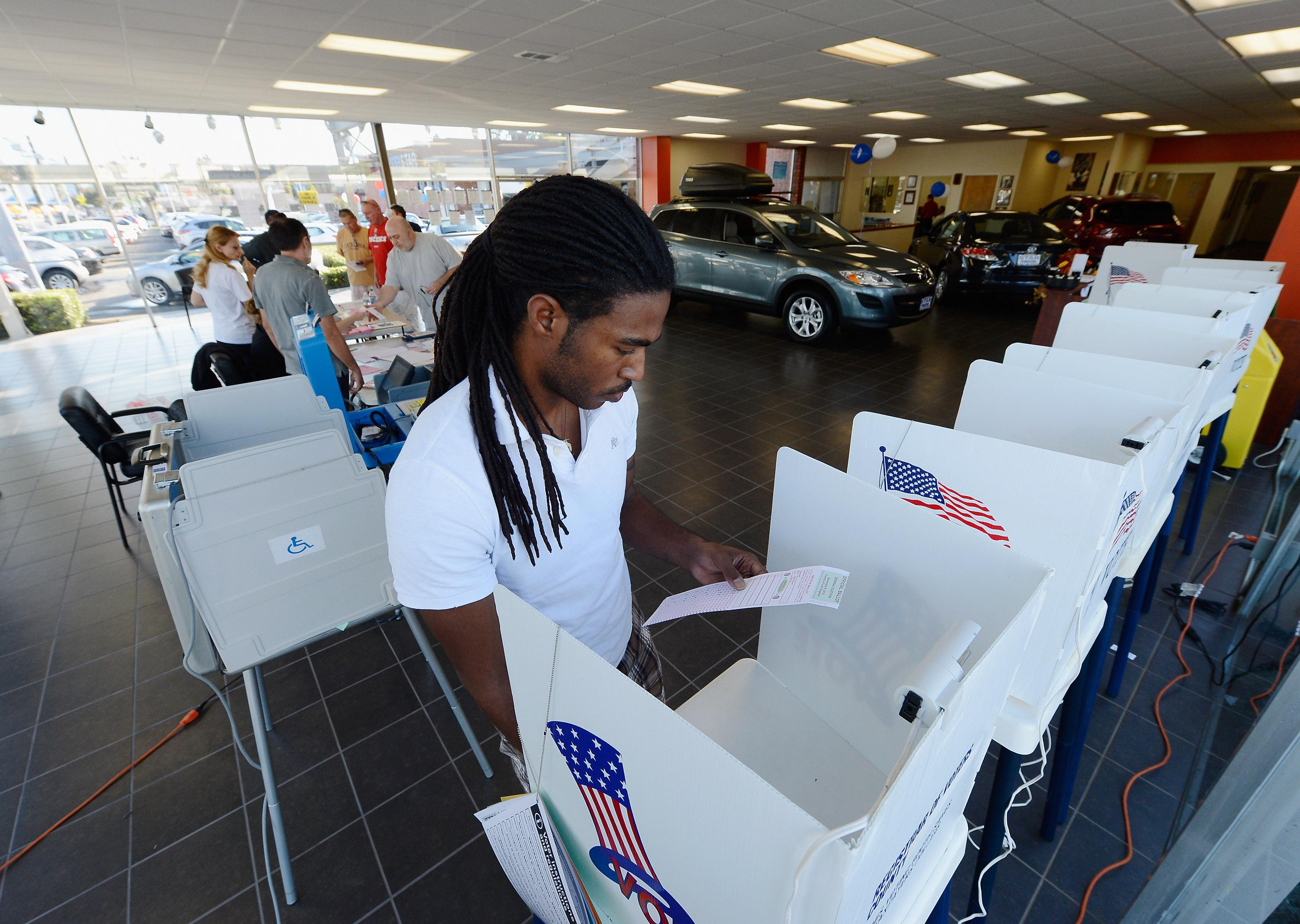 U.S. Citizens Head To The Polls To Vote In Presidential Election