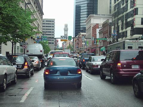 Rush hour with traffic jams