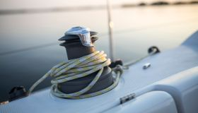Winch and sailing rope on a yacht