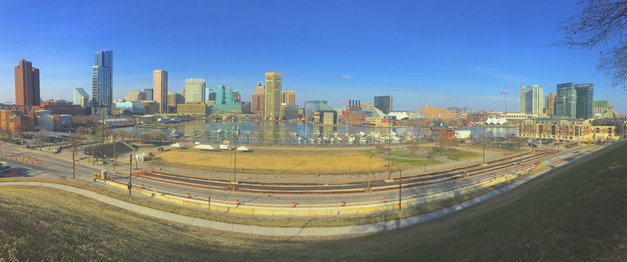 Panoramic view from top of Federal Hill Park, Baltimore