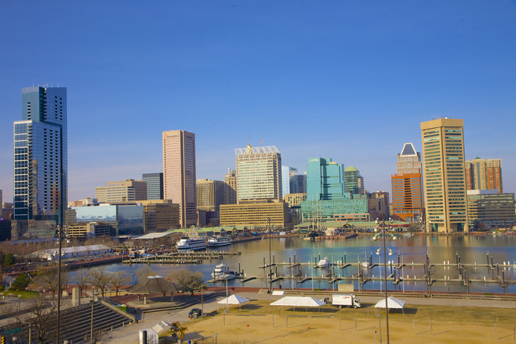 View of Inner Harbor and towers of downtown Baltimore