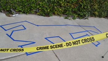 High Angle View Of Crime Scene On Street