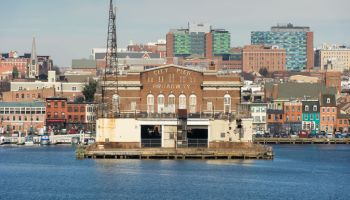 Fells Point skyline from the harbor in Baltimore, Maryland