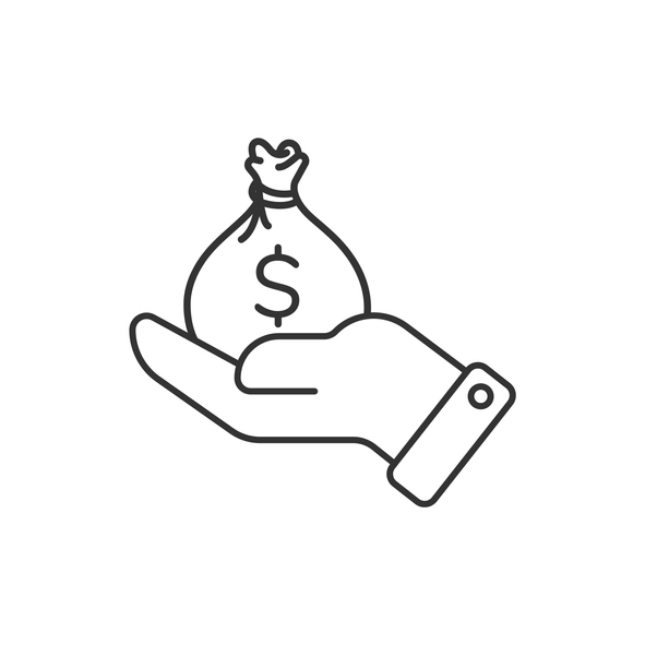 Hand Holding Money Bag Icon. Business, Finance and Economy Concept Finance and Economy Vector Design on White Background.