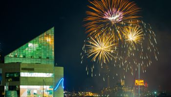 4th of July fireworks in Inner Harbor, Baltimore, USA