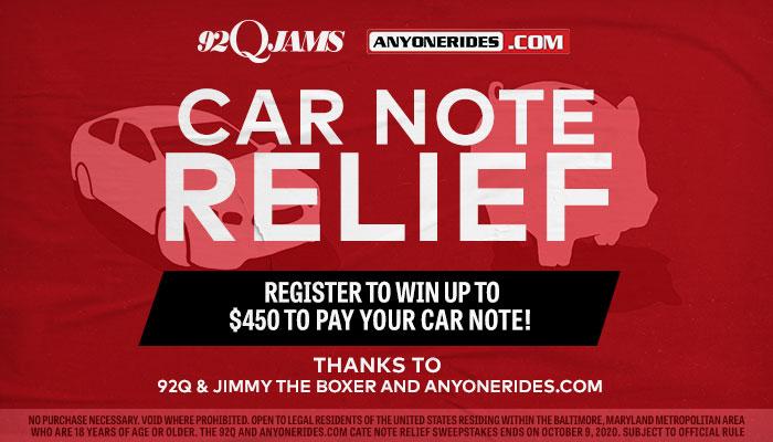 92Q and AnyoneRides.com Car Note Relief_RD Baltimore WERQ_September 2020
