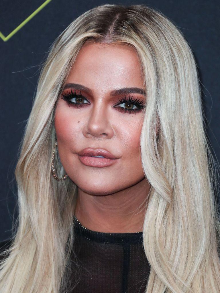 Khloe Kardashian wearing Laquan Smith arrives at the 2019 E! People's Choice Awards held at Barker Hangar on November 10, 2019 in Santa Monica, Los Angeles, California, United States.